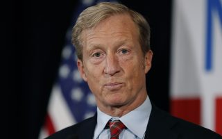 FILE - In this Jan. 9, 2019 file photo, billionaire investor and Democratic activist Tom Steyer speaks during a news conference where he announced his decision not to seek the 2020 Democratic presidential nomination at the Statehouse in Des Moines, Iowa.  Steyer is now joining the race for the Democratic presidential nomination, reversing course after deciding earlier this year that he would forgo a run. (AP Photo/Charlie Neibergall)