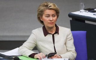 epa07484425 Minister of Defence Ursula von der Leyen sits during a session of the German parliament 'Bundestag' in Berlin, Germany, 04 April 2019. Members of the German Bundestag discuss about 70 years of Transatlantic cooperation by NATO since the signing of the North Atlantic Treaty by its 12 founding nations.  EPA/HAYOUNG JEON