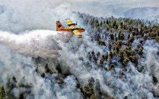 Με το πρώτο φως της ημέρας χθες, επαναλήφθηκαν οι ρίψεις νερού από εναέρια μέσα στο πύρινο μέτωπο της Εύβοιας. Το απόγευμα στην περιοχή παρέμεναν 235 πυροσβέστες με 75 υδροφόρες, ενώ ρίψεις νερού πραγματοποιούσαν περιοδικά 7 αεροσκάφη και 9 ελικόπτερα.