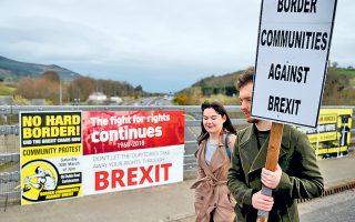 Τον Μάρτιο, το σημείο διέλευσης των συνόρων μεταξύ Ιρλανδίας και Βορείου Ιρλανδίας φιλοξένησε χιλιάδες διαδηλωτές κατά του Brexit.