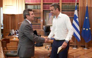 O πρωθυπουργός Κυριάκος Μητσοτάκης συναντήθηκε χθες στο Μαξίμου με τον υφυπουργό Προστασίας του Πολίτη Λευτέρη Οικονόμου.