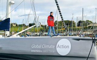 Το ιστιοφόρο «Malizia II», στο οποίο βρίσκεται η 16χρονη ακτιβίστρια Γκρέτα Τούνμπεργκ, χάρη σε ηλιακούς πίνακες και υποθαλάσσιες τουρμπίνες για την παραγωγή ηλεκτρισμού, θα διασχίσει τον ωκεανό δίχως να εκπέμψει ρύπους.