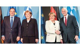 Αριστερά: Ο πρώην πρωθυπουργός Κωνσταντίνος Καραμανλής με την Αγκελα Μέρκελ στο Βερολίνο, τον Φεβρουάριο του 2006. Τον Σεπτέμβριο του 2011 μετέβη στο Βερολίνο και ο Γιώργος Παπανδρέου για να συναντήσει τη Γερμανίδα καγκελάριο (δεξιά).
