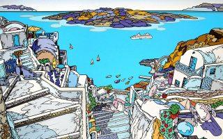 Ο ζωγράφος αιχμαλωτίζει στα έργα του την ενέργεια του κυκλαδίτικου τοπίου.