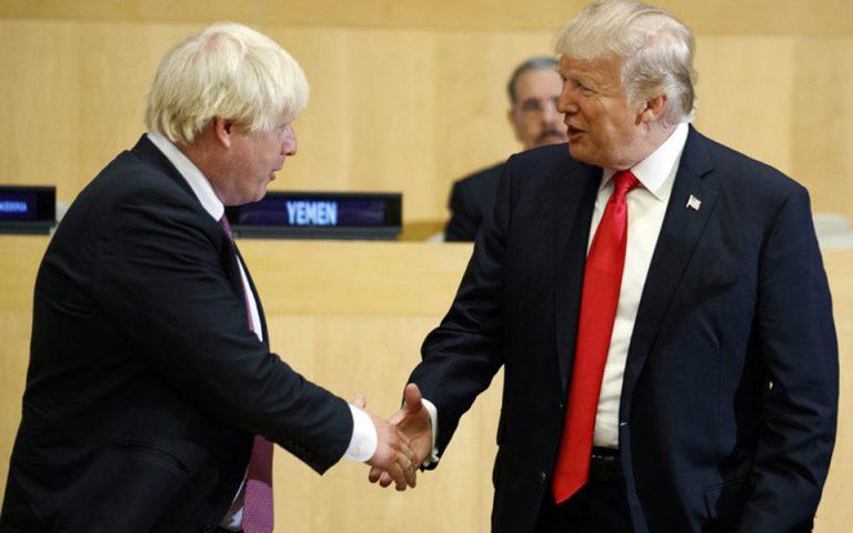 Συζητήσεις Τραμπ – Τζόνσον για προσωρινή εμπορική συμφωνία μετά το Brexit