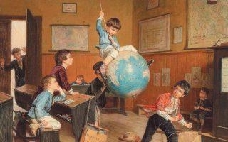 Μια... σχολική τάξη. Λεπτομέρεια από τον πίνακα «Ο γύρος του κόσμου» του Αντρέ Ανρί Νταργκελά (1828-1906).