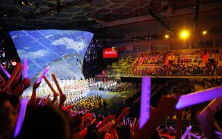 A general view of the FIBA Basketball World Cup 2019 opening ceremony at the Beijing National Aquatics Center or Water Cube in Beijing, China, Friday, Aug. 30 2019. (How Hwee Young/Pool Photo via AP)