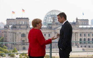 Την πρώτη του συνάντηση ως πρωθυπουργός είχε χθες ο Κυριάκος Μητσοτάκης με τη Γερμανίδα καγκελάριο Αγκελα Μέρκελ, στο Βερολίνο.