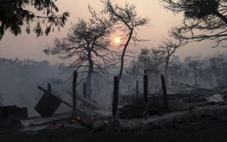 Flames burn the remains of a makeshift corral in Makrimalli village, on the island of Evia, northeast of Athens, Tuesday, Aug. 13, 2019. Hundreds of firefighters battled wildfires in Greece Tuesday, with the largest burning out of control through a thickly forested nature reserve on the island of Evia north of Athens where four villages and a monastery were evacuated. (AP Photo/Yorgos Karahalis)