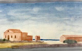 Τοπίο σε ακουαρέλα διά χειρός Κυριάκου Κρόκου. Ενα από τα ζωγραφικά του έργα που παρουσιάζονται σε έκθεση στο Αρχαιολογικό Μουσείο Αίγινας.