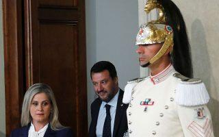 O Σαλβίνι αποχωρεί από το Προεδρικό Μέγαρο μετά τη συνάντησή του με τον πρόεδρο Ματαρέλα, στις 22 Αυγούστου. REUTERS