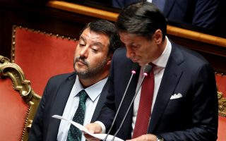 Italian Deputy PM Matteo Salvini reacts as Italian Prime Minister Giuseppe Conte addresses the upper house of parliament over the ongoing government crisis, in Rome, Italy August 20, 2019. REUTERS/Yara Nardi