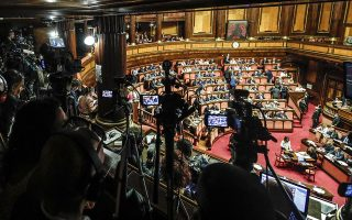 epa07771682 A general view of the debate for the calendar of the government crisis in the Senate Chamber in Rome, Italy, 13 August 2019.  EPA/GIUSEPPE LAMI