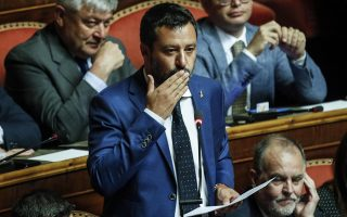 epa07771753 Italian Interior Minister, Deputy Premier and Secretary of Italian party Lega (League), Matteo Salvini, during the debate for the calendar of the government crisis in the Senate Chamber in Rome, Italy, 13 August 2019.  EPA/GIUSEPPE LAMI