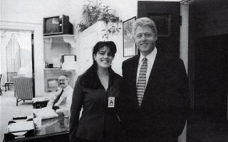 ** FILE ** This Official White House photo taken Nov. 17, 1995, from page 3179 of Independent Counsel Kenneth Starr's report on President Clinton, showing President Clinton and Monica Lewinsky at the White House.  After the resignation of Rep. Mark Foley, R-Fla., on Friday, Sept. 29, 2006, others recall those caught in unsavory behavior have had mixed success trying to hang on. President Clinton used contrition, counterattack and an artful definition of what constitutes sex in his ultimately successful defense against impeachment. (AP Photo/OIC)