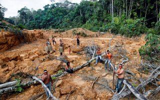 Μέλη της φυλής των Μούρα στην επαρχία της Αμαζονίας, έτοιμοι να υπερασπιστούν το δάσος τους με τη ζωή τους. © REUTERS/Ueslei Marcelino