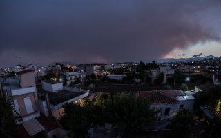Πανοραμική λήψη από την Ν. Αρτάκη Ευβοίας -Πυκνός καπνός καλύπτει όλη την περιοχή σε περίμετρο χιλιομέτρων