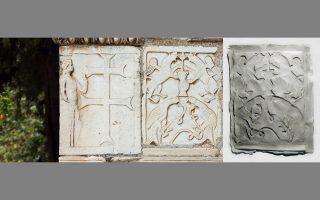 Τμήμα διακόσμου της Μικρής Μητρόπολης που προέρχεται από παλαιότερα κτίσματα, τέμπλα ή στήλες και, δεξιά, έργο της Νόρας Οκκα που παρουσιάζει έκτυπα αναγλύφων και επιγραφών στη Γεννάδειο.