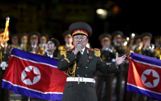 A member of the Military Band of the Korean People?s Army of the DPR of Korea performs during the