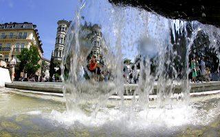 Στη Leopoldsplatz, όπως άλλωστε παντού στην πόλη, το υδάτινο στοιχείο πρωταγωνιστεί. (Φωτογραφία: Christophe Margot/The New York Times)