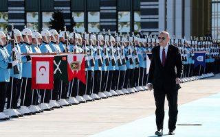 Ο πρόεδρος Ερντογάν κατά την υποδοχή του Ουκρανού προέδρου στην Αγκυρα, στις αρχές του μήνα.