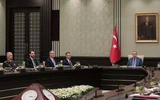 Ο Τούρκος πρόεδρος Ταγίπ Ερντογάν στη σύνοδο του συμβουλίου ασφαλείας, την περασμένη Τρίτη, στην Αγκυρα.  REUTERS