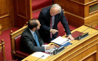 Ο υφυπουργός Υποδομών και Μεταφορών, αρμόδιος για θέματα Μεταφορών, Γιάννης Κεφαλογιάννης  και ο Γιάννης Αδριανός συνομιλούν στην ολομέλεια της Βουλής , Παρασκευή 30 Αυγούστου 2019. Πραγματοποιήθηκε στην ολομέλεια της Βουλής η συζήτηση και ψήφιση επί της αρχής, των άρθρων και του συνόλου του σχεδίου νόμου:  «Ρυθμίσεις του Υπουργείου Υποδομών και Μεταφορών και άλλες επείγουσες διατάξεις».  ΑΠΕ-ΜΠΕ/ΑΠΕ-ΜΠΕ/Παντελής Σαίτας