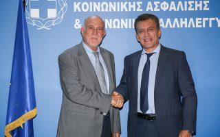 Συνάντηση του Υποργού εργασίας και Κοινωνικών Υποθέσεων Γιάννη Βρούτση με τον Πρόεδρο της ΟΚΕ Γιώργο Βερνίκο (EUROKINISSI/ΓΙΩΡΓΟΣ ΣΤΕΡΓΙΟΠΟΥΛΟΣ) Τρίτη 27 Αυγούστου 2019