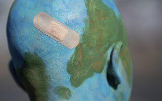 Η Γη διαδηλώνει. Σε κάθε πόλη του κόσμου σε μικρές ή μεγαλύτερες διαδηλώσεις το σύνθημα ήταν ένα «σώστε τον πλανήτη». Στην φωτογραφία μια γυναίκα με ξυρισμένο κεφάλι και βαμμένο στα χρώματα της γης με ένα μεγάλο τσιρότο, διαδηλώνει στην Στουττγάρδη. (Sebastian Gollnow/dpa via AP)