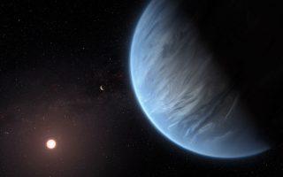 Kαλλιτεχνική απεικόνιση του πλανήτη Κ2-18b, ο οποίος δεν αποτελείται μόνο από αέρια (όπως ο Δίας ή ο Κρόνος) αλλά είναι γεώδης. EPA/ESA/HUBBLE/M. KORNMESSSER