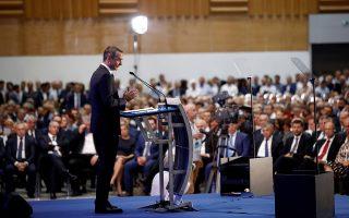 Ο Κυριάκος Μητσοτάκης (στιγμιότυπο από την ομιλία του στο Βελλίδειο) αξιοποιεί τον αυξημένο δείκτη αισιοδοξίας αλλά και την ευρεία αποδοχή του ιδίου και της κυβέρνησης, ακόμη και μεταξύ ψηφοφόρων του ΚΙΝΑΛ, για να διευρύνει την απήχηση της Νέας Δημοκρατίας σε νέα ακροατήρια. INTIME NEWS/ΔΗΜΗΤΡΗΣ ΤΟΣΙΔΗΣ