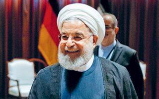 Ο Ιρανός πρόεδρος Χασάν Ροχανί λίγο πριν συναντηθεί με την καγκελάριο Μέρκελ στη Νέα Υόρκη.
