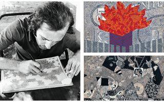 Ο καλλιτέχνης την ώρα που ζωγραφίζει. «Five-dollar bill» (Πεντοδόλλαρο), 1969 (επάνω δεξιά). «Το όνειρο του Πυλάδη», 1967 (κάτω δεξιά).