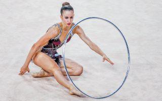 Η πρωταθλήτρια της ρυθμικής γυμναστικής στο παγκόσμιο πρωτάθλημα του Μπακού παρουσίασε το πρόγραμμά της στο στεφάνι και συγκέντρωσε 20,275 βαθμούς.
