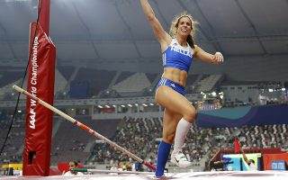 Katerina Stefanidi, of Greece, competes in the women's pole vault final at the World Athletics Championships in Doha, Qatar, Sunday, Sept. 29, 2019. (AP Photo/Hassan Ammar)