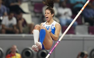 Katerina Stefanidi, of Greece, competes in the women's pole vault final at the World Athletics Championships in Doha, Qatar, Sunday, Sept. 29, 2019. (AP Photo/David J. Phillip)