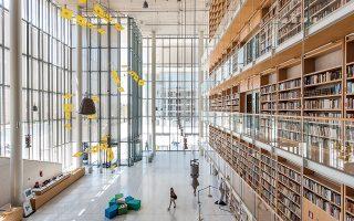 Άποψη από το Αναγνωστήριο της Εθνικής Βιβλιοθήκης της Ελλάδος στο Κέντρο Πολιτισμού  Ίδρυμα Σταύρος Νιάρχος. © Δημήτρης Παπαδάκος