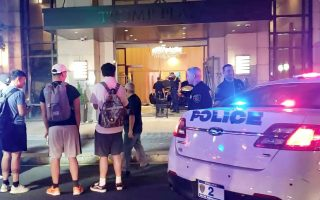 People and police officers stand outside Trump Plaza after a car crashed into the building's lobby in New Rochelle, New York, U.S., September 17, 2019, in this still image from video obtained via social media. Jose Abarca via REUTERS ATTENTION EDITORS - THIS IMAGE HAS BEEN SUPPLIED BY A THIRD PARTY. MANDATORY CREDIT. NO RESALES. NO ARCHIVES.