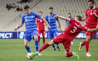 Ο παίκτης της Εθνικής Ελλάδος Μάριους Βρουσάι, (Α) διεκδικεί την μπάλα με τον παίκτη της Εθνικής του Λιχτενστάιν Max G?ppel (Δ), κατά τη διάρκεια του αγώνα ποδοσφαίρου της 6ης αγωνιστικής του 10ου ομίλου για το EURO 2020 μεταξύ των ομάδων Ελλάδα-Λιχτενστάιν, την Κυριακή 8 Σεπτεμβρίου 2019, στο ΟΑΚΑ. ΑΠΕ-ΜΠΕ/ΑΠΕ-ΜΠΕ/ΠΑΝΑΓΙΩΤΗΣ ΜΟΣΧΑΝΔΡΕΟΥ