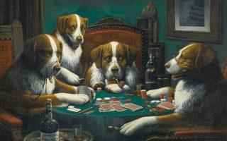 Εργο του Αμερικανού ζωγράφου Κάσιους Μαρσέλους Κούλιτζ (1844-1934), από τη σειρά «Σκύλοι που παίζουν πόκερ».