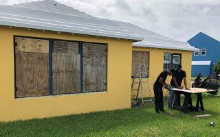 Residents board up their homes ahead of Hurricane Humberto in Hamilton Parish, Bermuda, September 18, 2019. REUTERS/Don Burgess       NO RESALES. NO ARCHIVES.