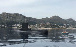 Το υποβρύχιο του Πολεμικού Ναυτικού «Αμφιτρίτη» στο Καστελλόριζο, κατά τη διάρκεια παλαιότερης αποστολής του.