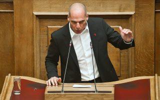 Ο επικεφαλής του ΜέΡΑ25 Γ. Βαρουφάκης, χθες στη Βουλή.