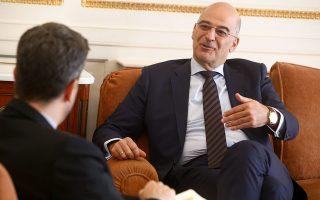 «Δεν οδηγεί πουθενά την Τουρκία η πολιτική των κανονιοφόρων. Και απευθύνομαι ειλικρινά και προς την ελληνική κοινωνία. Πρέπει να έχουμε τεράστια αυτοπεποίθηση γι' αυτό που είμαστε και αυτό το οποίο εκπέμπουμε», λέει ο κ. Δένδιας στον συντάκτη της «Κ» Βασίλη Νέδο. INTIME NEWS/ΣΤΕΛΙΟΣ ΣΤΕΦΑΝΟΥ
