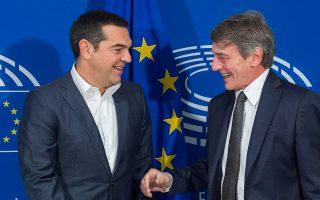 O πρόεδρος του ΣΥΡΙΖΑ Αλέξης Τσίπρας με τον πρόεδρο του Ευρωπαϊκού Κοινοβουλίου, Νταβίντ-Μαρία Σασόλι.
