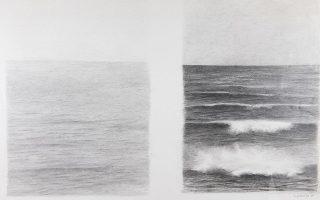 «Θάλασσα», 1980, μολύβι σε χαρτί. Από την έκθεση «NATURMATIC. Δείγματα από έναν πλανήτη» με έργα του Βαλέριου Καλούτση. Εως 25 Οκτωβρίου. Σπίτι της Κύπρου, Ξενοφώντος 2α, Αθήνα.