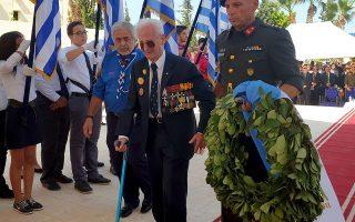 Ο 96χρονος βετεράνος του Β΄ Παγκοσμίου Πολέμου, Πλάτων Συναδινός ,στην τελετή μνήμης για την 77η επέτειο από τις μάχες του Ελ Αλαμέιν