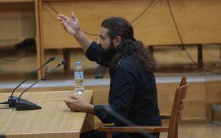 Ο πρώην βουλευτής της Χρυσής Αυγής Κων. Μπαρμπαρούσης απολογείται κατά τη διάρκεια της δίκης της Χρυσής Αυγής, στο Εφετείο Αθηνών, Δευτέρα 21 Οκτωβρίου 2019.