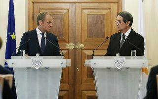 epa07912491 Cypriot President Nicos Anastasiades (R) and European Council President Donald Tusk attend a press conference after ameeting at the Presidential Palace in Nicosia, Cyprus, 11 October 2019. Tusk is on an official visit to Cyprus.  EPA/YIANNIS KOURTOGLOU / POOL