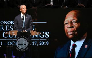 Former U.S. President Barack Obama speaks during funeral services for late U.S. Rep. Elijah Cummings (D-MD) at the New Psalmist Baptist Church in Baltimore, Maryland, U.S., October 25, 2019. Lloyd Fox/Pool via REUTERS